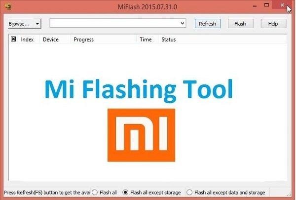 Главное окно MiFlash