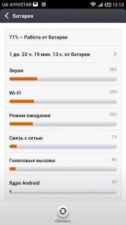 Индикация батареи
