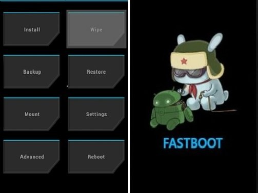 Меню Recovery и Fastboot.